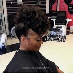 Lovely www.shorthaircuts… Natural hairstyles – High buns hairstyles of all types, wedding styles for natural hair, with bangs, without weave, cute & sleek updo tutorials for ..