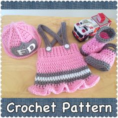 CROCHET PATTERN 3 Month Size Baby Fireman Firefighter Hat, Skirt and Boots, Photography Prop, Baby Shower Gift