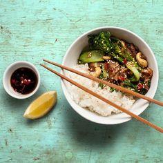 Porcini mushroom Stir Fry with pak choi, tender-stem broccoli, cashew nuts & sesame seeds.