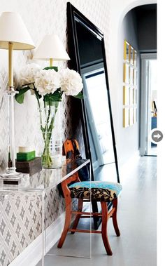 Entry way inspiration - LUCITE CONSOLE IS PERFECT WHEN YOU HAVE A NARROW SPACE BUT NEED A PLACE TO DROP OFF KEYS AND HANDBAG.