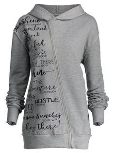 Letter Print Plus Size Skew Zipper Hoodie - GRAY 3XL