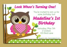 Baby shower invitations hot pink owl baby shower invitations owl birthday or baby shower invitation printable by thatpartychick 1500 filmwisefo