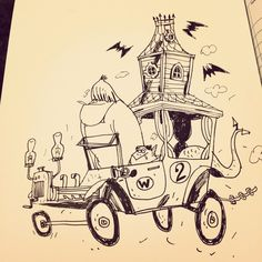 I started with Mad Max' Interceptor, then The Creepy Coupe. I had planned to draw The Brocnoviach (more than one) from Condorman but ended u. Cartoon Familie, Car Design Sketch, Simple Doodles, Comic Artist, Cartoon Characters, Creepy, Sketches, Animation, Drawings