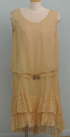 """1920's Silk Chiffon And Lace Ecru Dress """"Downton Abby"""" from evelynvonblonvintage on Ruby Lane"""