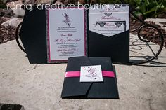 Pocketfold Wedding Invitation with Damask in Pink & Black by r3mg, $17.00
