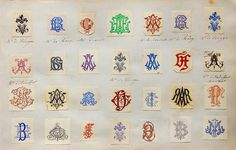 Monogram Collecting from Le Petit Musee de Lou, an antique and curiosity shop in Paris. Monogram Design, Monogram Styles, Monogram Fonts, Monogram Letters, Logo Design, Script Fonts, Graphic Design, Typography Letters, Hand Lettering