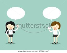 Business concept, Two business woman talking via cup telephone. Vector illustration.