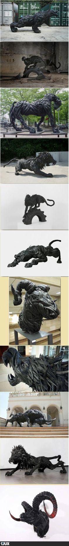 Geniale Skulpturen aus alten Autoreifen