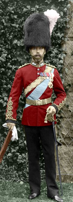 Tsarevitch Nicholas in the uniform of the Scots Greys at Balmoral in 1896. Queen Victoria gave him the title of Colonel-in-Chief of the Royal Scots Greys which pleased him immensely (This is a recolor to make the tunic redder and the belt gold)