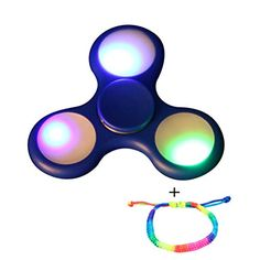 Iusun LED Light Fidget Hand Spinner Finger Toy EDC Focus Gyro Fast Shipping Gift (Blue)