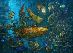 Golden Corn by Sergey Skachkov, 2006 Graphic Artwork, Victorian Steampunk, City Landscape, Art Portfolio, Fantasy World, Belle Epoque, Digital Art, Creatures, Photoshop