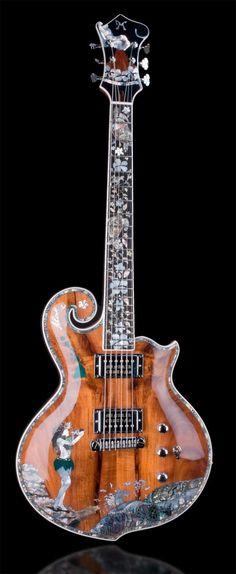Hawaiian inlay for Minarik Guitar by Arlene Goulart arlenegoulart.com