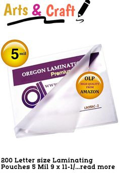 200 Letter size Laminating Pouches 5 Mil 9 x 11-1/2 inch with top 15% world high clarity rated clear glossy finish protects and enhances colors. 5 mils thick per Flap provides clear flexible low cost paper protection. Oregon Lamination Premium Letter laminating pouches have small radius rounded corners for a professional finish.OLP 9 x 11.5 Laminating Sleeves are metric size 229mm X 292mm and 125 microns thick per flap. OLP Laminating pouches provide the best deal... (This is an affiliate… Round Corner, Letter Size, Flexibility, Craft Supplies, Arts And Crafts, Pouch, It Is Finished, Good Things, Lettering