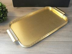 Mid-Century Modern Gold Toned Metal Tray  Woodmet Tray