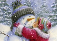 """""""I love my snowman. This is me with my snowman. Christmas Scenes, Vintage Christmas Cards, Christmas Greeting Cards, Christmas Pictures, Christmas Snowman, Christmas Greetings, All Things Christmas, Winter Christmas, Christmas Holidays"""