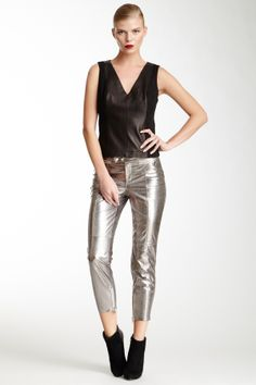 Robert Rodriguez Metallic Slim Cropped Leather Pant on HauteLook
