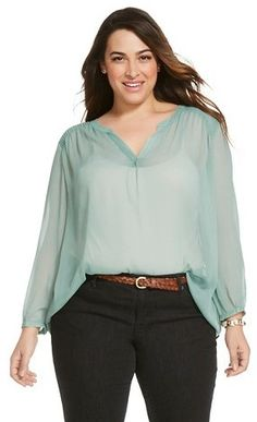 Merona® Women's Plus Size Long Sleeve Blouse - MeronaTM
