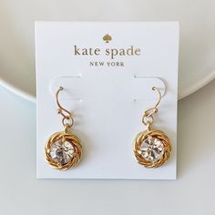Brand new in perfect condition Kate Spade Earrings, Place Card Holders, Brand New, Drop Earrings, Classic, Cards, Gold, Jewelry, Derby