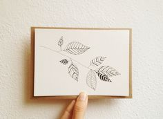 leaves original drawing in black ink on postcard