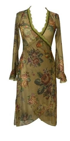 Long Sleeves Olive Green Wrap Dress Created by Michal Negrin with Victorian Roses Motif, Ruffled Cuffs, Lace and Velvet Trim; Handmade in Israel Michal Negrin. $483.00