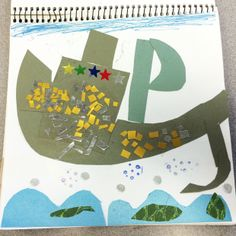 This charming boat sails the seas in the art journal of one of my Ontario students.  :)
