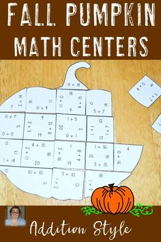 These Addition Pumpkin Puzzles are great for fall math centers, review, early…