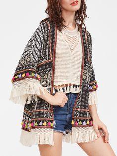 Shop Fringe Detail Self Tie Kimono online. SheIn offers Fringe Detail Self Tie Kimono & more to fit your fashionable needs.