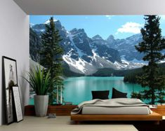 Canada Banff Rocky Mountain Lake - Large Wall Mural, Self-adhesive Vinyl Wallpaper, Peel & Stick fabric wall decal Vinyl Wallpaper, Adhesive Wallpaper, Adhesive Vinyl, Large Wall Murals, Design Case, Textured Walls, Rocky Mountains, Wall Decals, Wall Art