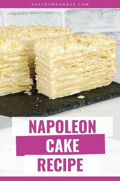 Today I want to show you how to make a Napoleon Cake from scratch! This cake is made of multiple layers of puff pastry dough and a smooth, delicate pastry cream in between the layers. Baking Recipes, Cake Recipes, Napoleon Cake, Milk And Vinegar, Puff Pastry Dough, Food Chopper, Cake Fillings, Dough Balls