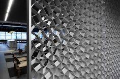 Cellscreen by Korban/Flaubert    Decorative honeycomb screen  Material: Clear anodised aluminium