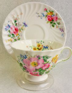 Vintage Tea Cup/ Arcadia Pattern by Royal Doulton Lovely Floral Teacup and Saucer