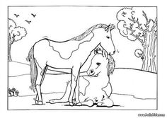 Foal and mare coloring page. This lovely Foal and mare coloring page is one of my favorite. Check out the HORSE coloring pages to find out others. Farm Animal Coloring Pages, Coloring Pages For Kids, Coloring Sheets, Animal Drawings, Farm Animals, Crafts For Kids, Horses, Embroidery, Cute
