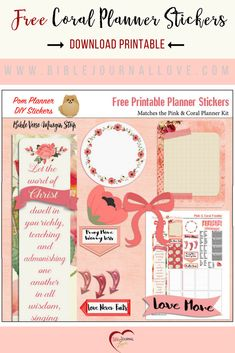 Pinterest Free Coral Planner Stickers