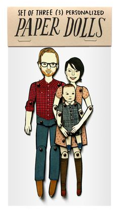Our plan for a framed portrait SET OF THREE personalized paper dolls by JordanGraceOwens on Etsy, $105.00