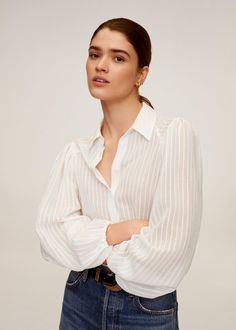 Puffed sleeves striped shirt -  Women | Mango USA
