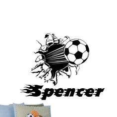 Soccer Ball Wall Rip with Personalized Lettering Vinyl Wall Decal Room Decor.  I'll bet Morgan would love this!