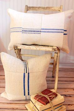 Grain Sack Decorative Pillow Cover European by SuttonPlaceDesigns, $55.00