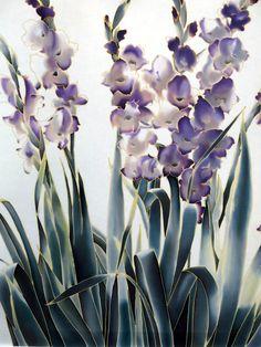 Irises Silk Painting. Hand painted silk. Batik by SilkMood on Etsy