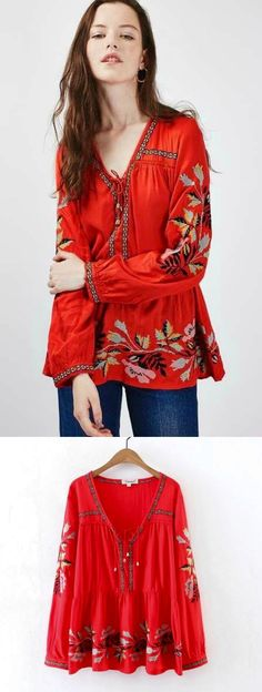 $38.00 A Red Bohemian Top now available at Pasaboho. This top exhibits unique embroidered patterns. ❤️ We Love boho style and Free Spirit Fashion Trend hippie girls sharing woman outfit ideas. *Available for wholesale :: bohemian clothes, cute dresses and skirts. Fashion trend and styles from hippie chic, modern vintage, gypsy style, boho chic, hmong ethnic, street style, geometric and floral outfits.