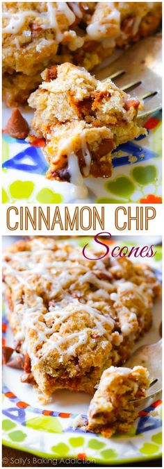 Tender and crumbly, these simple cinnamon chip scones taste like cinnamon rolls and are packed with sweet cinnamon chips!i love cinnamon chips even more than chocolate chips! Cinnamon Chip Scones, Cinnamon Chips, Cinnamon Rolls, Cinnamon Butter, Cinnamon Bread, Köstliche Desserts, Delicious Desserts, Dessert Recipes, Yummy Food