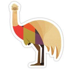 'Hello Emu' Sticker by printedsparrow Australian Animals, Australian Art, Quokka, Platypus, Wombat, Animal Nursery, Emu, Kangaroo, Wildlife