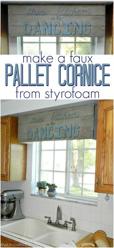 Genius! Here's how to make a Pallet Art window cornice using foam sheets. So much easier than wood!  Tutorial on Mad in Crafts.