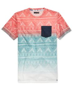 Ocean Current Men's Presley Ombré Geographic Print T-Shirt Polo T Shirts, Kids Shirts, Cool Shirts, Shirt Print Design, Shirt Designs, Hollister Clothes, Going Out Shirts, Unique Outfits, Mens Tees