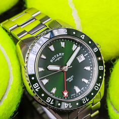 Have your best match with our exquisite green dial Henley GMT. This robust timepiece boasts a scratch-resistant ceramic uni-directional bezel, sapphire glass and stainless steel bracelet with deployment clasp. Sport Watches, Rotary, Link Bracelets, Quartz Watch, Uni, Omega Watch, Rolex Watches, Sapphire, Stainless Steel