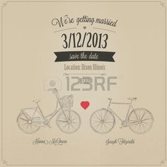 Grunge retro wedding invitation with tandem vintage bicycles