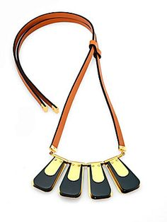 Marni Leather & Metal Pendant Necklace