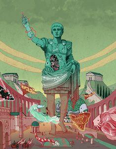 Emperor August #illustration #nicolascastell #surrealism #digital #art #painting #comic #fantasy #magic #dream #imagination #flying #fish Illustration! - Nicolás Castell