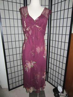 Adrianna 1930's Vintage Style Magenta Floral Silk Illusion Dress Wedding Sz 10 | eBay