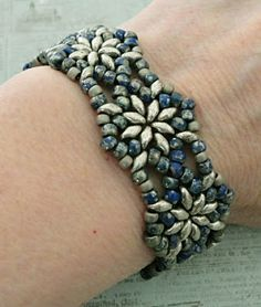 Linda's Crafty Inspirations: Bracelet of the Day: Northern Star - Blue Picasso