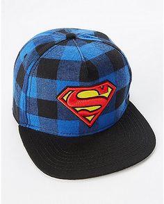 cff28ff16443a Plaid Superman Snapback Hat - DC Comics - Spencer s